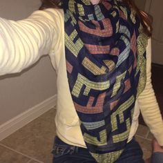 Fendi navy scarf Navy and colorful fendi scarf!  Accessories Scarves & Wraps