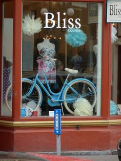 Love this bike display, one of my favorites Bliss Boutique | Victoria, Canada