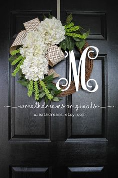 *** Buy 2 items from WreathDreams and get 10% off your order. Discount shown at checkout. A beautiful & refreshing Year-Round wreath decorated with white Hydrangea blooms & a generous spread of mixed greenery complemented by a large white & tan chevron burlap bow. ❤ Wreath shown is a
