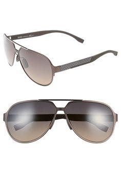 Men's BOSS 63mm Aviator Sunglasses - Matte Brown/ Grey Gradient