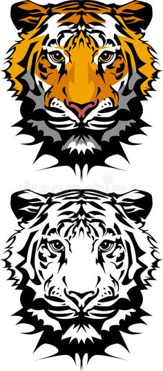 Illustration about Vector Illustration of Tiger Mascot Logos. Illustration of school, logos, images - 11071748 Lion Painting, Stencil Painting, Tiger Stencil, Tiger Vector, Cat Anatomy, Lion Drawing, Black And White Face, Tiger Logo, Face Illustration