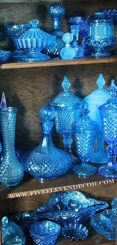 Blue Depression Glass Collection www. Antique Glassware, Fenton Glass, Love Blue, Carnival Glass, Glass Collection, Colored Glass, My Favorite Color, Retro, Oeuvre D'art