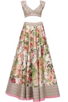 Printed lehenga with light pink satin blouse set|Lehenga|Anushree Reddy|Aashniandco.com - unique womens blouses, white ruffle blouse, floral shirt blouse *ad