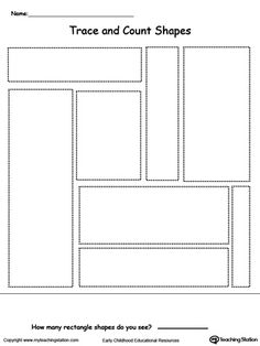 **FREE** Trace and Count Rectangle Shapes Worksheet.Practice shape recognition…