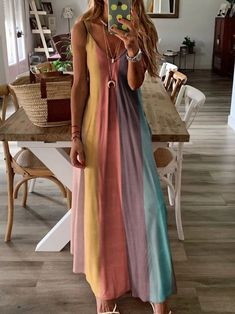 maxi dress YES General Pink Blue Multicolor Day Dresses Casual Knitted Shift Dress Spring Maxi Summer Sleeveless S Color Block M L XL XXL Slip Camisole Neckline Dress color:White Casual Dresses, Summer Dresses, Holiday Dresses, Beach Dresses, Party Dresses, Blue Dresses, Look Boho, Necklines For Dresses, Look Fashion