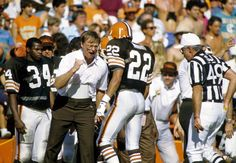 Marty Schottenheimer, Felix Wright, Kevin Mack.This is from the 1985 AFC Divisional Playoff  game on January 3,1986 where Browns lost  24-21 after being up 21-3.History repeated itself because Browns lost  in Orange Bowl   in 1972 AFC Divisional playoffs