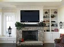 Like the grey stone with the dark mantle against the white cabinets on either side