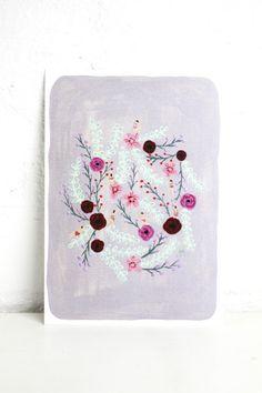 Grey Floral A5 Print