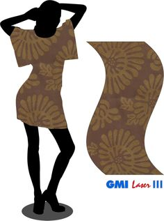Woman dress simulation with laser engrave and embroidery fabric.