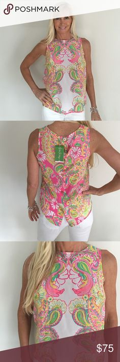 SUMMER CLEARANCE NWT Lully Pulitzer Top Beautiful Lilly Pulitzer Top - 100% silk Lilly Pulitzer Tops Blouses