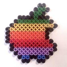 Apple Hama Beads / Ikea Pyssla with black border