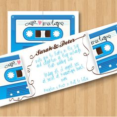 Printable Mix Tape Retro Wedding Invitation DIY by HermiasWishes