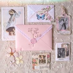 Convallaria maialis — I made some envelopes with vintage handkerchiefs 💌 Classy Aesthetic, Aesthetic Vintage, Pink Aesthetic, Aesthetic Letters, Journal Aesthetic, Mail Art Envelopes, Snail Mail Pen Pals, Pen Pal Letters, Princess Aesthetic