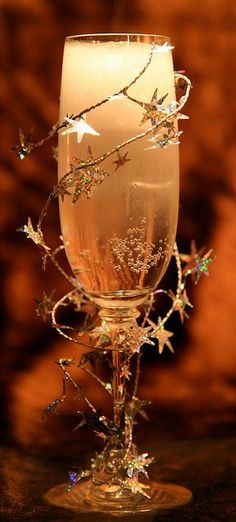 This is a picture only.  But is pretty self-explanatory.  Use the cute star garland from Christmas and some Champagne or Sparkling Wine.  Enjoy!