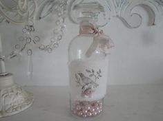 Shabby Chic Romantic Cottage Vintage Style Glass Bottle w/ Bird,Paper Rose, Pink Ribbon, Rhinestone by JCKEEVER via Etsy