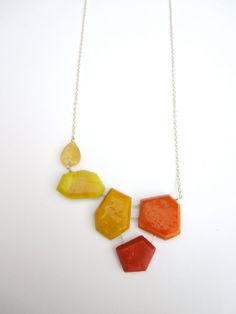 Colorful Necklace, Genuine Jade Necklace, Yellow Jewelry, Orange Jewelry, Red Necklace, Sterling Silver Necklace, Modern Geometric Jewelry
