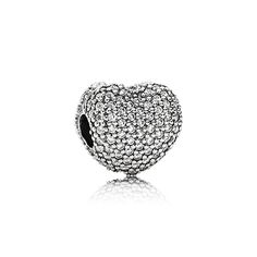 Heart pave silver clip with cubic zirconia - 791427CZ - Charms | PANDORA