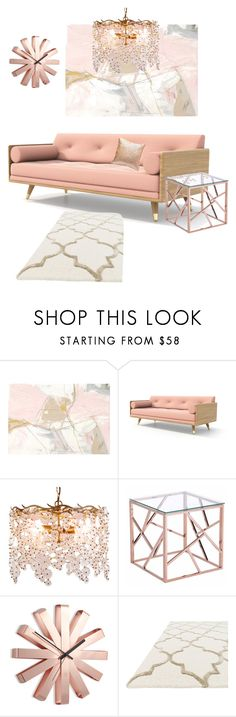 """Pink living room"" by coloramazing ❤ liked on Polyvore featuring interior, interiors, interior design, home, home decor, interior decorating, Canopy Designs, Zuo, Umbra and living room"