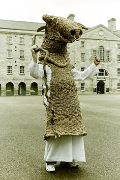 The New Straw Bull costume from Straw Craft Ireland at NMI Collins Barracks, Dublin. We perform the first Sunday of each year at the National Museum of Ireland, Collins Barracks, Dublin - photo courtesy of Stephen McGinn - www.smcginnphoto.com