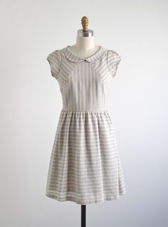 Blythe Grey & Cream Striped Dress by Dear Creatures has a sweet cut with a cutesy peter pan collar.