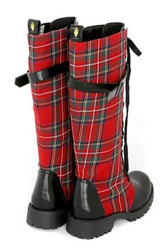 I especially love these red plaid boots!