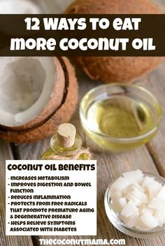 Coconut oil is a metabolism boosting fat that also increases your energy and improves your digestions. Here are 12 simple ways to eat more coconut oil daily! #coconut #coconutoil