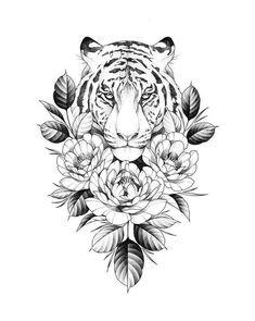 Tiger Tattoo Small, Tiger Tattoo Thigh, Tiger Face Tattoo, Tiger Tattoo Sleeve, Girl Thigh Tattoos, Tiger Tattoo Design, Hip Tattoos Women, Butterfly Thigh Tattoo, Back Tattoo Women