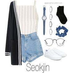 Inspired Outfit for KCON // Seokjin by suga-infires on Polyvore featuring polyvore, fashion, style, WithChic, Topshop, Erika Cavallini Semi-Couture, Vans, New Look, Ray-Ban and clothing