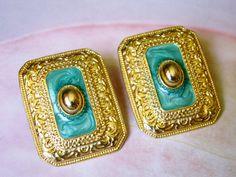 Ornate Embossed Gold Tone Green Swirled Metalic Enamel 80's Big Pierced Earrings, Dynasty Earrings, 1980's Big Jewelry by dazzledbyvintage on Etsy