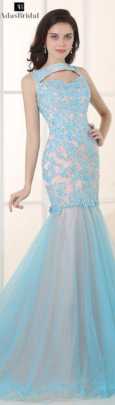 7ead05eb729  150.50  Elegant Tulle   Stretch Satin High Collar Neckline Mermaid Prom  Dresses - adasbridal.com. Kleider Niedriger RückenHoher ...