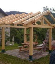 The pergola kits are the easiest and quickest way to build a garden pergola. There are lots of do it yourself pergola kits available to you so that anyone could easily put them together to construct a new structure at their backyard. Diy Pergola, Small Pergola, Pergola Canopy, Pergola With Roof, Covered Pergola, Wooden Pergola, Pergola Shade, Cheap Pergola, Wooden Gazebo Plans