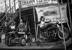 Lillian La France showing off with no hands on the treadmill at full rev.  She was one of the first, and also one of the most popular, female Motordrome Wall of Death riders of the 1920s & '30s.