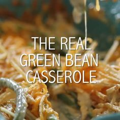The real green bean casserole doesn't use cream of anything soup and the fried shoestring potatoes may be a new twist but it's a good one! Easy Healthy Recipes, Great Recipes, Vegetarian Recipes, Cooking Recipes, Favorite Recipes, Cooking Tips, Thanksgiving Recipes, Holiday Recipes, Dinner Recipes