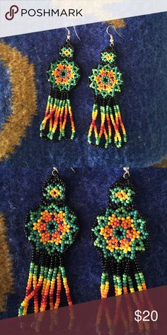 Mexican peyote earrings Handmade in Chihuahua, Mexico by the Huichol tribe, depicts the sacred peyote cactus. Never worn. 4 inches long. Jewelry Earrings