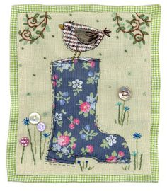 Sharon Blackman: Wellington boots etc! Inspiration only Freehand Machine Embroidery, Free Motion Embroidery, Machine Embroidery Applique, Applique Quilts, Patchwork Quilting, Hand Applique, Applique Patterns, Applique Designs, Fabric Cards