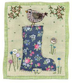 bird on floral wellington boot applique