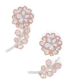 The Graff pink and white diamond flower from this multifunctional flower and stem brooch, set with three D colour Flawless and one D colour Internally Flawless pear-shaped diamonds, cut from the 550ct Letseng Star, can be seen in the model's hair.