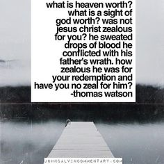What is Heaven worth? What is a sight of God worth? Was not #Jesus #Christ zealous for you? He sweated drops of blood he conflicted with his Father's wrath for your redemption and have you no zeal for Him? - Thomas Watston