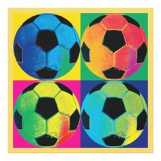 Customizable #Ball #Black #Blue #Bold #Bright #Game #Leisure #Orange #Pink #Soccer #Sports #Vivid #Yellow Four Soccer Balls in Different Colors Canvas Print available WorldWide on http://bit.ly/2fGdZXH