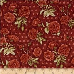 American Beauty Tossed Roses with Stars Red  www.fabric.com