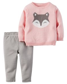 Featuring a playful knit-in design and patterned pants, this easy sweater set will keep her cute and cozy on brisk morning walks!