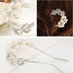 Smile Hair Hairpins Hairpin Hair Accessories Rhinestone Pearl U Hairpins ** Learn more by visiting the image link.