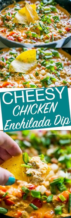 This cheesy chicken enchilada dip is SO good!