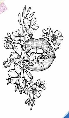 **** 5 symønstre til begyndere OG store størrelser **** - Elodie BLUEB . Future Tattoos, Body Art Tattoos, Tatoos, Tattoos Of Lips, Gun Tattoos, White Tattoos, Ankle Tattoos, Arrow Tattoos, Word Tattoos