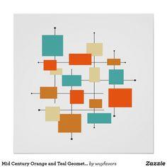 Mid Century Wall Art, Mid Century Modern Art, Wedding Poems, Orange And Turquoise, Orange Pink, Teal Blue, Retro Art, Modern Artwork, Custom Posters