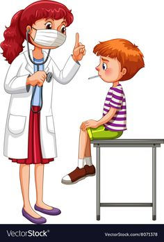 Doctor examining little sick boy vector image on VectorStock Preschool Jobs, Color Worksheets For Preschool, Preschool Learning Activities, Sick Boy, Sick Kids, Care Bear Party, Flashcards For Kids, Baby Clip Art, Community Helpers