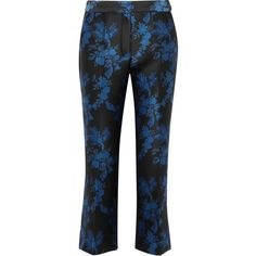 STELLA McCARTNEY   Eaton brocade and wool twill-paneled bootcut pants ($415) ❤ liked on Polyvore featuring pants, stella mccartney, boot cut pants, wool pants, woolen pants and stella mccartney pants