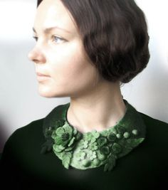 Frida+Kahlo+inspired+Green+Meadow++Felted+Neck+Piece++by+vaivanat,+$35.00
