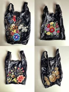 Embroidered black trash bags.. upcycled from littler into art! Nicoletta De La Brown.