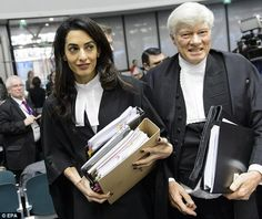 Legal representative: Amal Clooney, and Geoffrey Robertson, QC of Doughty Street Chambers, arrive for the at the European Court of Human Rights  in Strasbourg